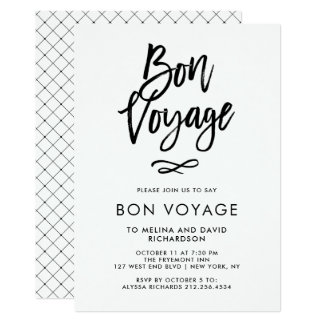 Black and White Trendy Script   Bon Voyage Party Card