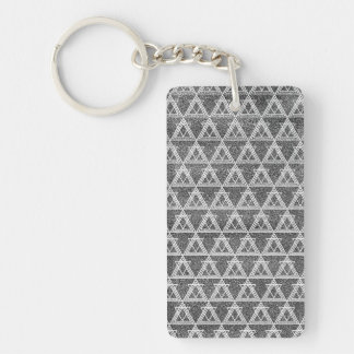 Black and White Triangle Geometric Pattern Double-Sided Rectangular Acrylic Key Ring