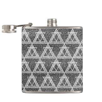 Black and White Triangle Geometric Pattern Flask