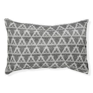Black and White Triangle Geometric Pattern Pet Bed