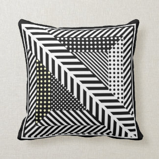 black and white triangle lines pillow