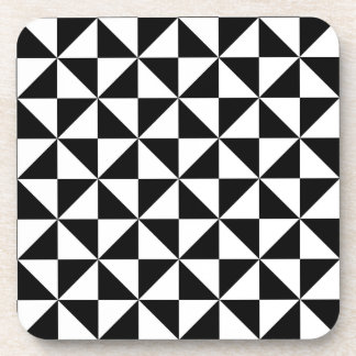 Black And White Triangle Pattern Coaster