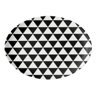 Black and White Triangle Pattern Porcelain Serving Platter