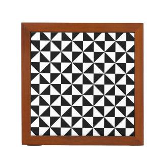 Black and White Triangles Desk Organiser