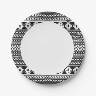 Black And White Tribal Aztec Paper Plate