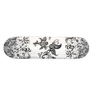 Black and white tribal butterfly 21.3 cm mini skateboard deck