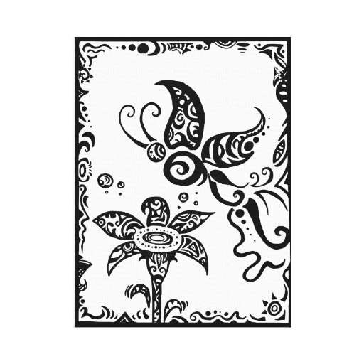 Black and white tribal butterfly stretched canvas prints