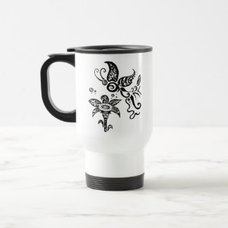Black and white tribal butterfly stainless steel travel mug