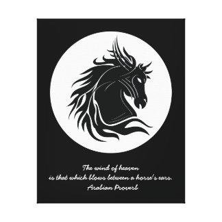 Black and white tribal horse head canvas print