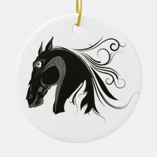 Black and white tribal horse head custom ornament