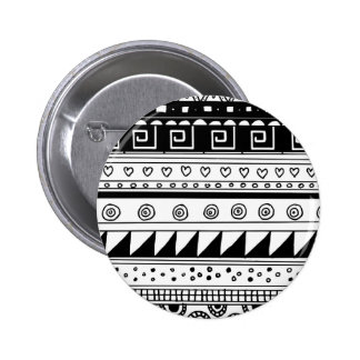 Black and white Tribal pattern 6 Cm Round Badge