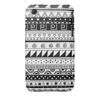 Black and white Tribal pattern Case-Mate iPhone 3 Cases
