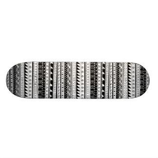 Black and white Tribal pattern Custom Skate Board