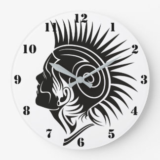 BLACK AND WHITE TRIBAL PUNK DESIGN (WITH NUMERALS) LARGE CLOCK
