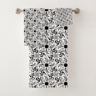 Black and White Tribal Rice Grain Pattern Bath Towel Set