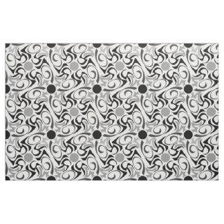 Black and White Tribal Rice Grain Pattern Fabric
