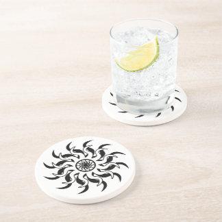 Black And White Tribal Sun Southwest Beverage Coasters