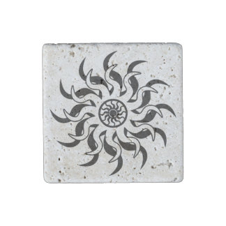 Black And White Tribal Sun Stone Magnet