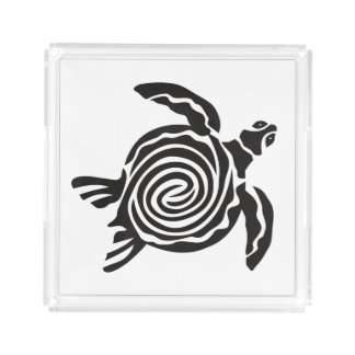 Black and White Tribal Turtle Art Acrylic Tray
