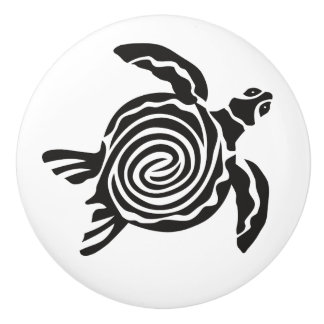 Black and White Tribal Turtle Art Ceramic Knob