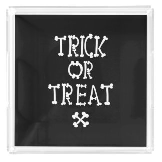Black And White Trick Or Treat Acrylic Tray