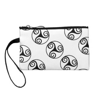 Black and White Triskelion Change Purse