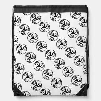 Black and White Triskelion Drawstring Bag