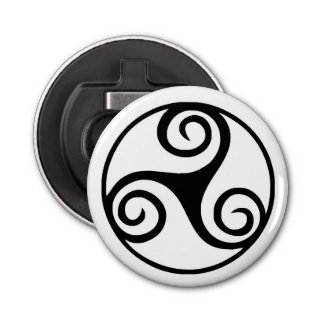 Black and White Triskelion or Triskele Bottle Opener