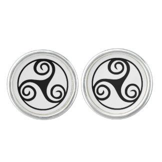 Black and White Triskelion or Triskele Cufflinks