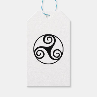 Black and White Triskelion or Triskele Gift Tags