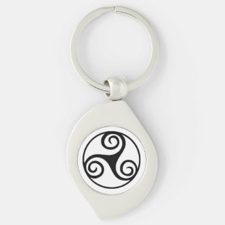 Black and White Triskelion or Triskele Key Ring