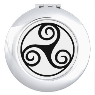 Black and White Triskelion or Triskele Makeup Mirrors
