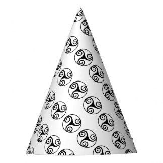 Black and White Triskelion or Triskele Party Hat