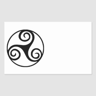 Black and White Triskelion or Triskele Rectangular Sticker