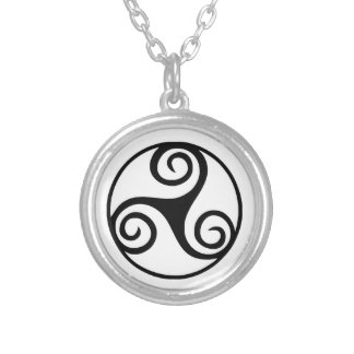 Black and White Triskelion or Triskele Silver Plated Necklace