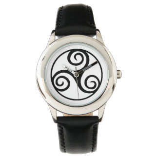 Black and White Triskelion or Triskele Watch