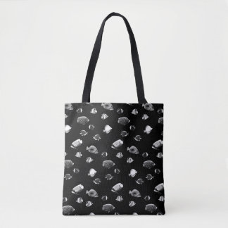 Black and white tropical fishes tote bag