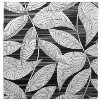 Black and white tropical leaf napkin