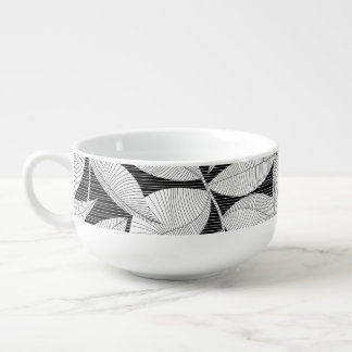 Black and white tropical leaf soup mug
