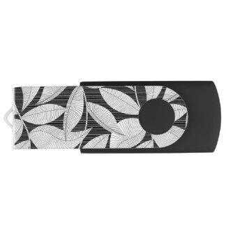 Black and white tropical leaf USB flash drive