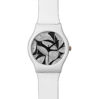 Black and white tropical leaf watch