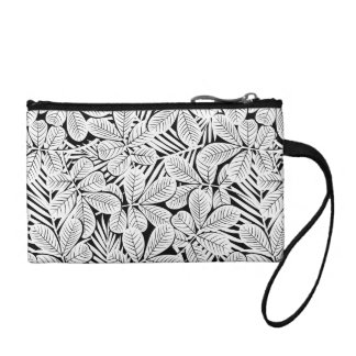 Black and white tropical plants coin purse