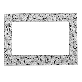 Black and white tropical plants magnetic picture frame