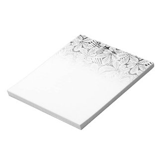Black and white tropical plants notepad