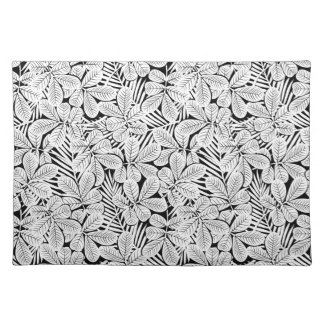 Black and white tropical plants placemat