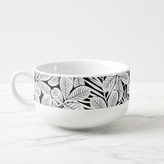 Black and white tropical plants soup mug