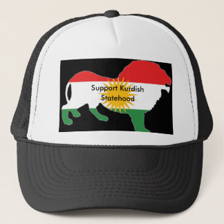 Black and white Truckers cap with Kurdish Flag