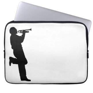 Black and White Trumpet Jazz Musician Computer Sleeve