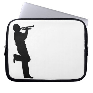 Black and White Trumpet Jazz Musician Laptop Sleeve