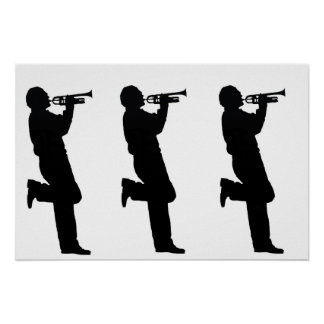 Black and White Trumpet Jazz Musician Poster